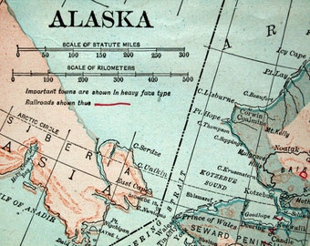 1921 Vintage Map of Alaska - Vintage Alaska Map - Old Alaska Map
