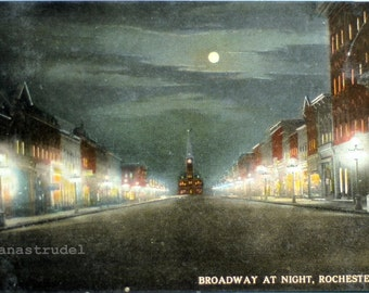 Early 1900s Postcard. Broadway at Night with Full Moon, Rochester, Minnesotta