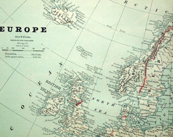 1883 Antique Map of Europe - Antique Europe Map - Europe Antique Map - Large Map