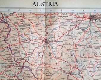 1958 Large Vintage Map of Austria