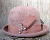 Mauve Dusty Rose Faux Fur Fedora Women's Size Medium