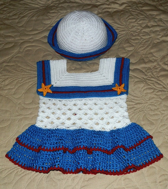 Baby Girl Crochet Dress Sailor Dress 18 to 24 mo Crochet Pattern PDF