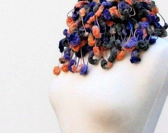 Orange, Blue, Green, Purple Pompon Fluffy Skinny Scarf