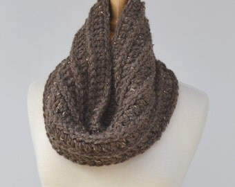 Chunky Crochet Cowl..Textured Man Scarf..Loop Scarf..Brown