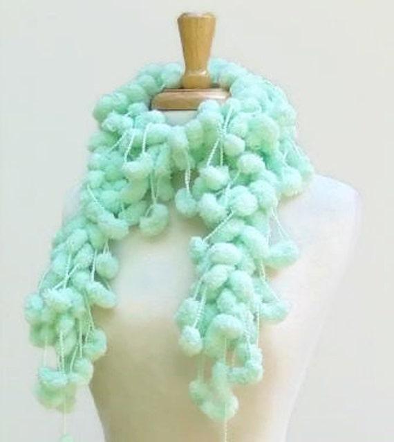 Mint Green Scarf Crochet Fluffy Soft Neckwarmer