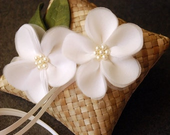 Mini Ring Bearer Pillow - Banana Leaf Ring Pillow With Handmade Flowers and Leaves -  Gabrielle