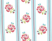 Tanya Whelan, Delilah, Posy, Blue, Free Spirit Fabrics, Designer Cotton Quilt Fabric, Floral Fabric, Stripe, Blue and White, END OF BOLT