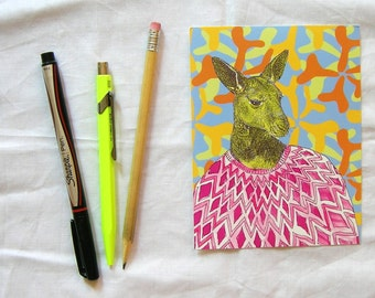 kangaroo wearing a sweet geometric sweater postcard set of two