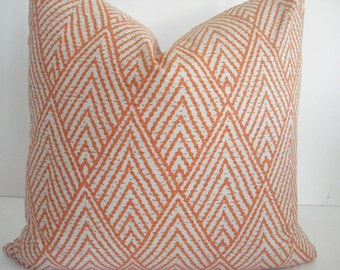 Lacefield Tahitian Stitch   Both Sides-- Decorative Designer Cover -Tangerine /Grey /Ivory Throw / Lumbar Pillows