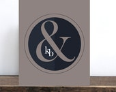 Monograms, Couples Initials Custom Love Print, Unique Anniversary Ampersand Wedding Gift, romantic, Personalized Wedding, Gift For him