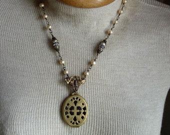 Vintage Brass Cross Locket Necklace Pearls Rhinestones  Vintage Assemblage