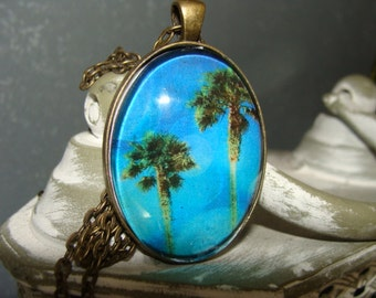 Vintage, Summer, Beach, Fun, Sun, Palm Trees, Glass Necklace