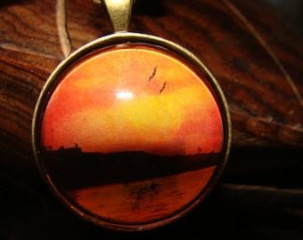 Vintage, Summer, Sunset, Fun, Beach, Birds ,Round ,Glass, Necklace