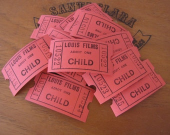 Lot of 20 Vintage Red Admit One Child Cinema Theatre Tickets Australia for Collage Altered Arts Mixed Media