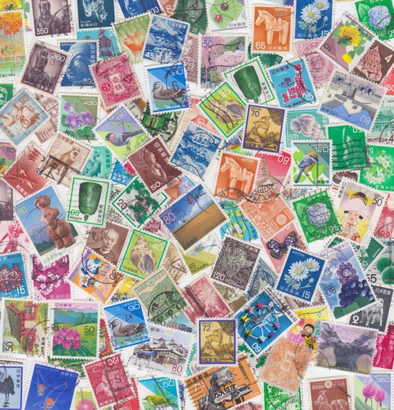 Lot of Japanese Postage Stamps for Altered Arts Collage Destash x 25