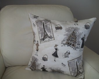 Tres Chic Pillow Cover - 18 x 18 Pillow Cover -  French Pillow Cover - Paris Icons