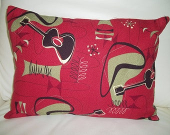 Barkcloth Throw Pillow Cover Midcentury Jetson Atomic Barkcloth 12 x 16 Ruby Red