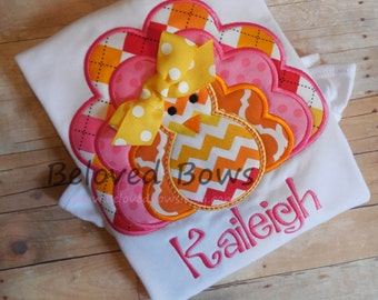 Girly Turkey Thanksgiving Applique Ruffle Shirt,Fall/Thanksgiving, Personalized