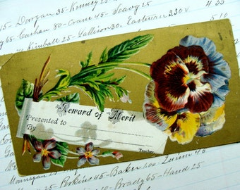 Antique 1800s Gorgeous Victorian Reward of Merit Card