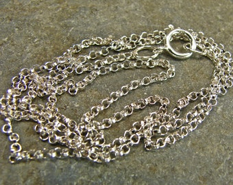Delicate Sterling Silver Rolo Chain - Polished Sterling - 20 Inch With Clasp - One Piece - drs20p