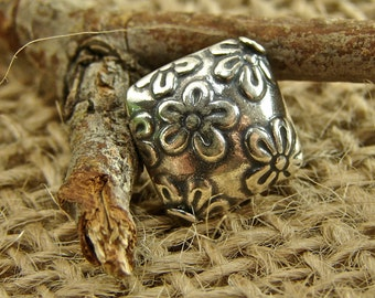 Field of Flowers -  Sterling Silver Square Shaped Beads - One Piece - bdfofsq