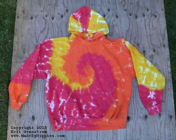 red yellow and orange spiral tie dye hooded sweatshirt