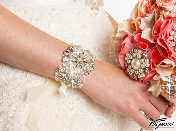 Bridal Bracelet, Bridal Jewelry, Rhinestone Bracelet, Wedding Bracelet, Beaded Crystal Bridal Bracelet, Rhinestone Bridal Accessories