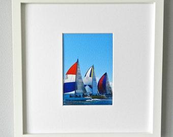 Framed Sailboat Photography, Framed Nautical Art, Sailboat Print, Nautical Print, Square Sailboat Art,Red White Blue Wall Art,West Elm Frame