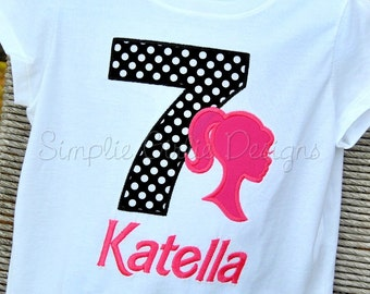 Barbie silhouette birthday shirt or bodysuit. Personalized. Sizes 12m to girl's 10/12. Can customize to party colors.