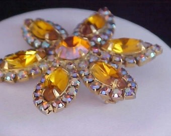 REDUCED~Retro HONEY AMBER & A.B. Marquis Cut Exotic Gold Plate Brooch