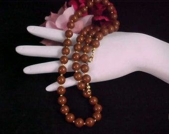 MID CENTURY Lovely CHOCOLATE Lucite Bead Sautoir Necklace
