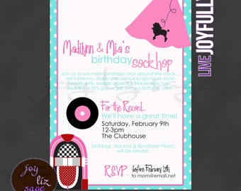 Nifty Fifties Sock Hop Invitation 5x7 - Personalized for YOU Digital File Only