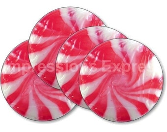 Peppermint Candy Coasters - Set of 4
