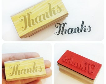 Thanks - Thank You Rubber Stamp - Etsy Shop, Logo, Branding, Packaging, Invitations, Party, Favors, Wedding Gifts