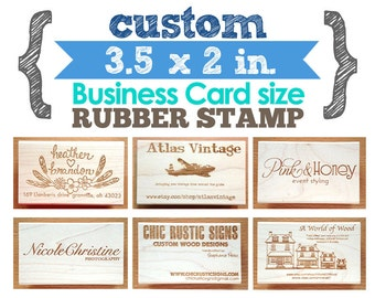 3.5 x 2 in - Business Card - YOUR CUSTOM DESIGN - Art Wood Mounted Rubber Stamp - For Logo, Branding, Packaging, Invitations, Party, Favors