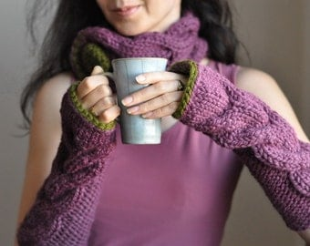 2 in 1 COMBO Hand knit neckwarmer chunky cable texture Collar and matching Fingerless Gloves armwarmers SET Freezebaby Set Choose Your Color