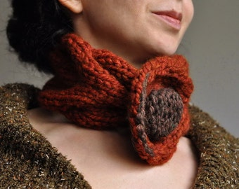 Hand knit braided cable neckwarmer knitted collar choker chunky scarf buttoned neckwear in spice burnt orange - Autumn Fantasy Gift under 50