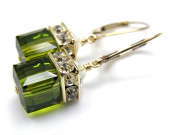 Olive Green Earrings, Swarovski Crystal Cube, Gold Filled, Drop, Dangle, Autumn Wedding Jewelry, Handmade Fall Fashion