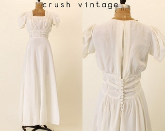 40s Wedding Dress S / 1940s Dress Bridal Moire Tafetta  / Love Me Tonight Gown