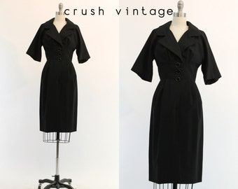 50s Dress Junior Accent XS / 1950s Vintage Dress Wiggle / Black Bird Dress