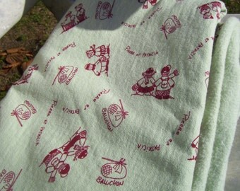 Vintage smith apple green fleece fabric children in red clothing, kids fabric, boy's fabric, girl's fabric,