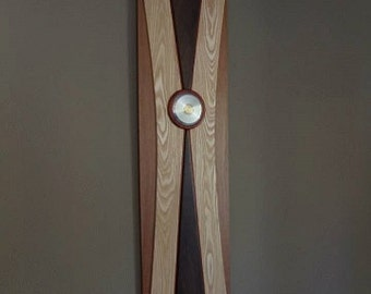"""Ash and Walnut Wooden Wall Art with Polished Pendant """"Button"""""""