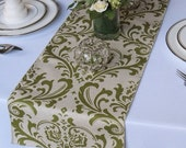 Traditions Olive on Taupe Damask Wedding Table Runner