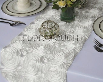 Off White Satin Ribbon Rosette Wedding Table Runner