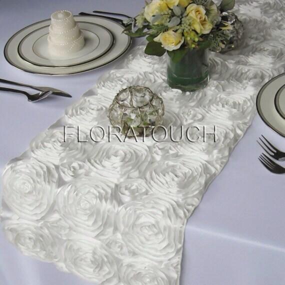 Off White Satin Ribbon Rosette Wedding Table Runner
