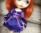 RESERVED - Hand-Dyed Royal Purple Silk Charmeuse Princess Mini Dress for Blythe