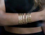 Herringbone Bangle,Bracelet-Geometry Collection-Handcrafted Gold Plated Brass-Free Shipping Worldwide
