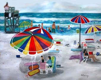ALONE AND TOGETHER  Original Watercolor 11 x 14 Long Beach Island Jersey Shore