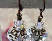 New Swarovski Clear/AB Finish Crystal Antique Brass Filigree Earrings