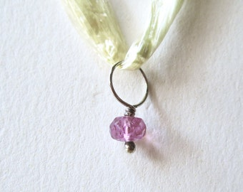 Pink tourmaline charm on sterling silver